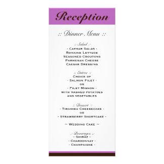 Purple Stripe Chocolate Brown Reception Menu