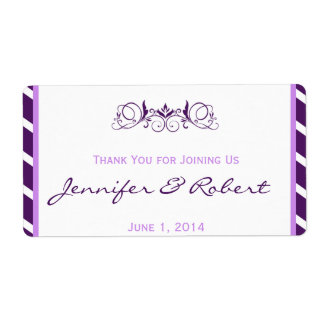 Purple Stripe Floral Accent Water Bottle Label Shipping Label