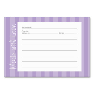 Purple Stripe Pattern Recipe Cards