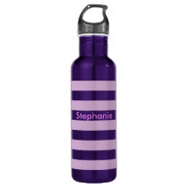Purple Stripe Stainless Steel Water Bottle