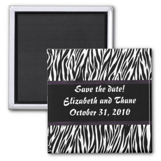 Purple Stripe Zebra Print 2 Inch Square Magnet