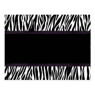 Purple Stripe Zebra Print Announcement Postcard