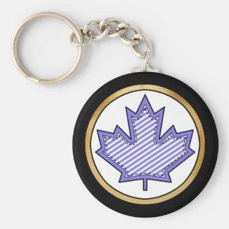 Purple Striped  Applique Stitched Maple Leaf Keychain