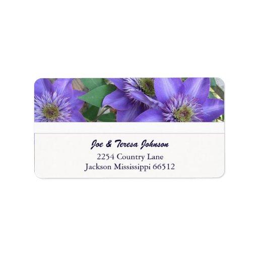 Purple Striped Clemantis Address Labels