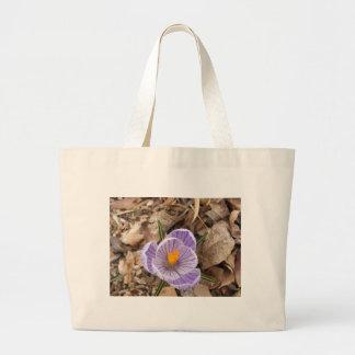 Purple Striped Crocus Flower Tote Bag