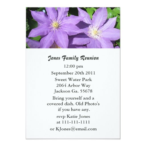 Purple Striped Flower Party Invitations