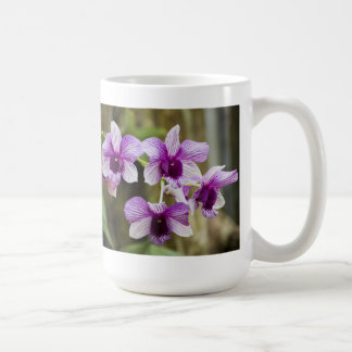 Purple Striped Orchid Flower Classic White Coffee Mug