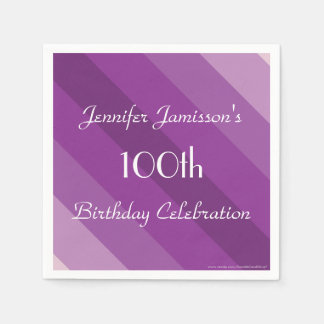 Purple Striped Paper Napkins, 100th Birthday Party Napkin