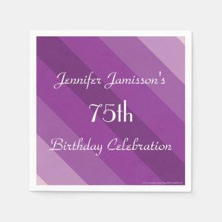 Purple Striped Paper Napkins, 75th Birthday Party Paper Napkin