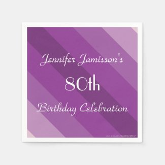 Purple Striped Paper Napkins, 80th Birthday Party