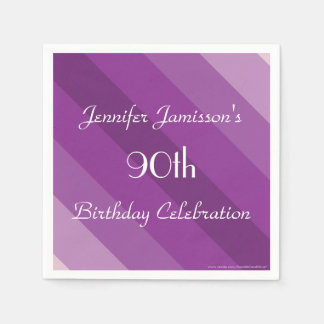 Purple Striped Paper Napkins, 90th Birthday Party Standard Cocktail Napkin