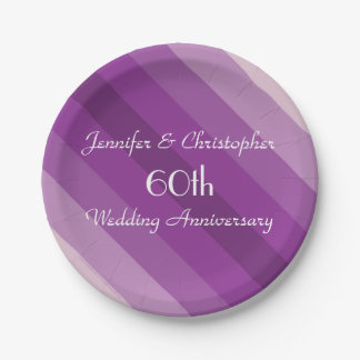 Purple Striped Plates, 60th Wedding Anniversary Paper Plate