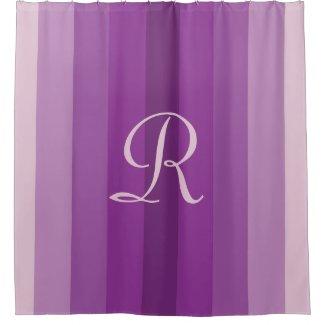 Purple Striped Shower Curtain Pale Purple Monogram