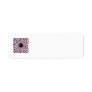 Purple Striped Sunburst Fractal Label