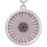 Purple Striped Sunburst Fractal Necklace