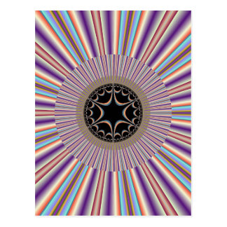 Purple Striped Sunburst Fractal Postcard
