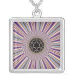 Purple Striped Sunburst Fractal Square Pendant Necklace