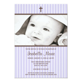 Purple Stripes and Brown Cross Girl Photo Baptism 5x7 Paper Invitation Card