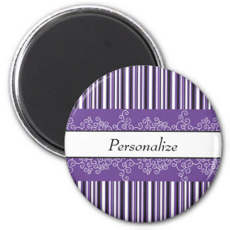 Purple Stripes and Curls Magnet