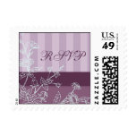 Purple Stripes and Floral RSVP Wedding Stamps