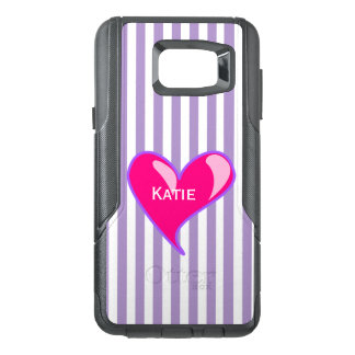 Purple Stripes and Pink Heart Samsung Note 5 Case