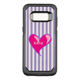 Purple Stripes and Pink Heart Samsung S8 Case