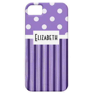 Purple Stripes and Polka Dots iPhone SE/5/5s Case