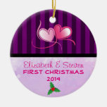Purple Stripes and Soft Lavender Texture Double-Sided Ceramic Round Christmas Ornament