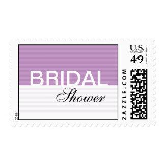 Purple Stripes Bridal Shower Stamps