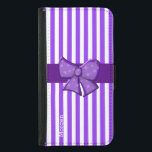 "Purple Stripes Custom Samsung S5 Wallet Case<br><div class=""desc"">Purple custom Samsung Galaxy S5 wallet phone case done in a purple and white striped pattern.  Graphics of a purple  ribbon and purple polka dot bow,  decorates the middle of the wallet.  Personalize the white text for yourself or as a great gift idea.</div>"
