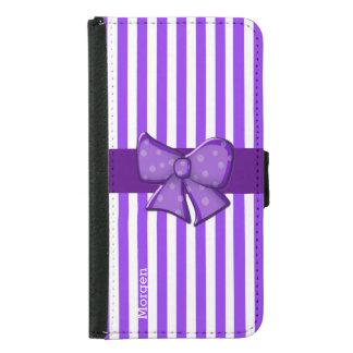Purple Stripes Custom Samsung S5 Wallet Case