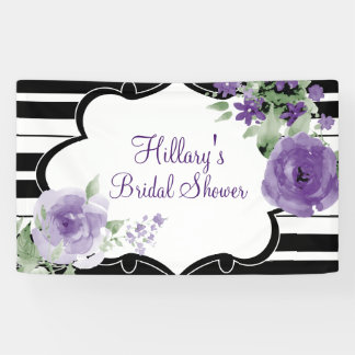 Purple, Stripes, Flowers, Bridal Shower Banner