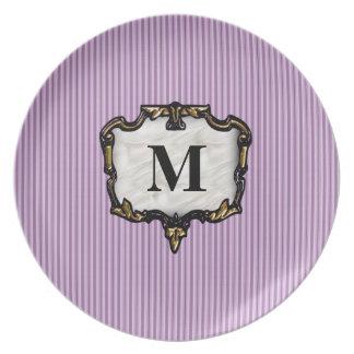 Purple Stripes Gold Monogram Plate