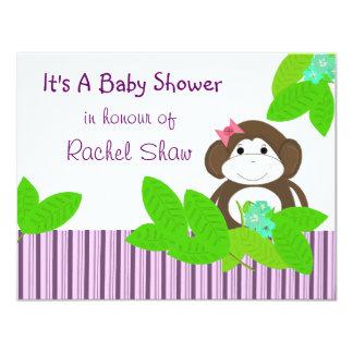 "Purple Stripes Monkey Baby Shower Invitation 4.25"" X 5.5"" Invitation Card"