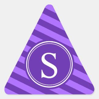 Purple Stripes Monogram Triangle Stickers