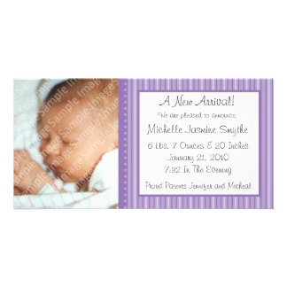 Purple Stripes New Baby Photo Card