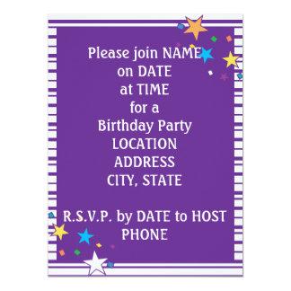 Purple Stripes Oval Party Collage Invitation