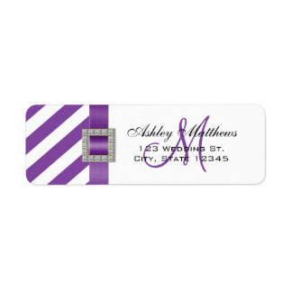 Purple Stripes, Ribbon Monogram for Weddings Label