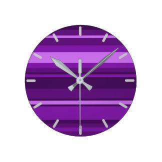 Purple stripes round clock