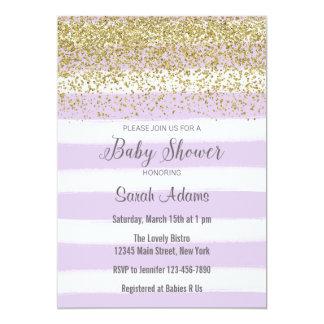 Purple Stripes Watercolor Baby Shower Invitation