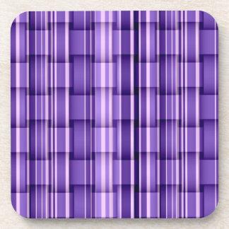 Purple stripes wicker retro graphic design beverage coaster