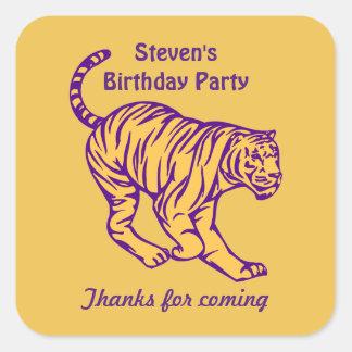 Purple Stripes Wild Cat Tiger Birthday Thank You Square Sticker