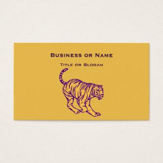 Purple Stripes Wild Cat Tiger Illustration Business Card