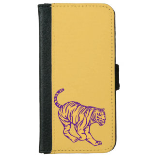 Purple Stripes Wild Cat Tiger Illustration iPhone 6/6s Wallet Case