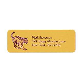 Purple Stripes Wild Cat Tiger Illustration Label