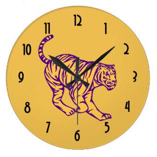 Purple Stripes Wild Cat Tiger Illustration Large Clock