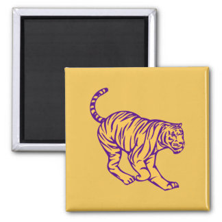 Purple Stripes Wild Cat Tiger Illustration Magnet