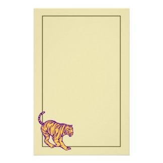 Purple Stripes Wild Cat Tiger Illustration Stationery