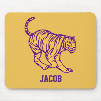 Purple Stripes Wild Cat Tiger Personalized Mouse Pad