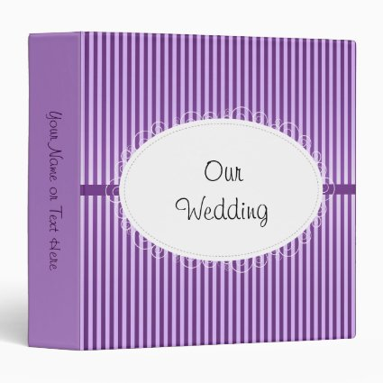 Purple Stripey Pattern Wedding Binder
